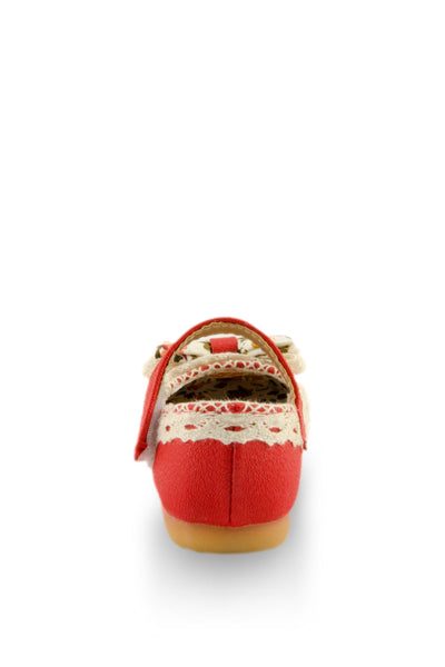 Red Little Lady Lacy Bow Mary Jane Shoes
