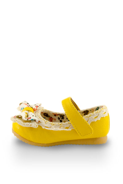 Yellow Little Lady Lacy Bow Mary Jane Shoes