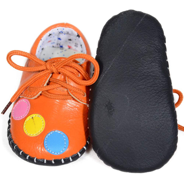 Orange Bubbles Soft Leather Training Shoes soft sole view at Twinkie