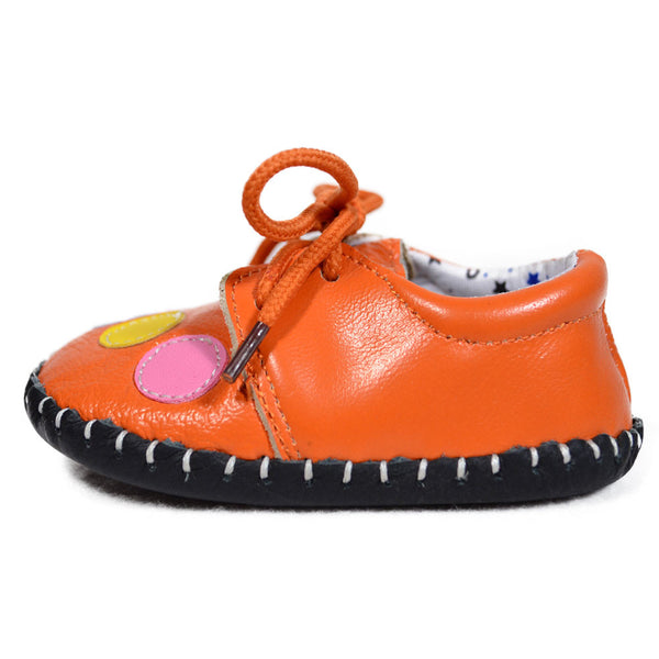 Orange Bubbles Soft Leather Training Shoes side view at Twinkie