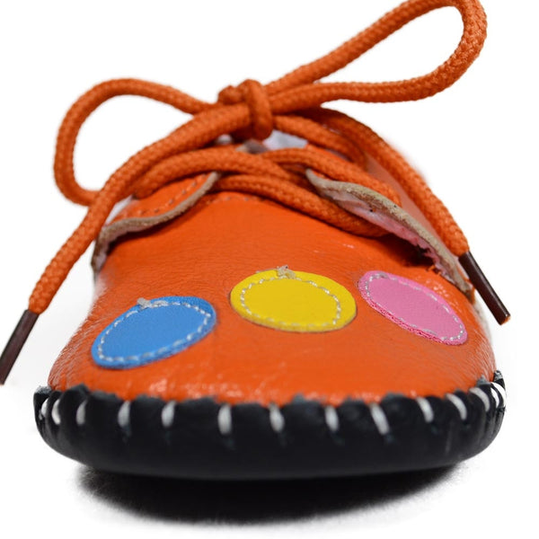 Orange Bubbles Soft Leather Training Shoes toe view at Twinkie
