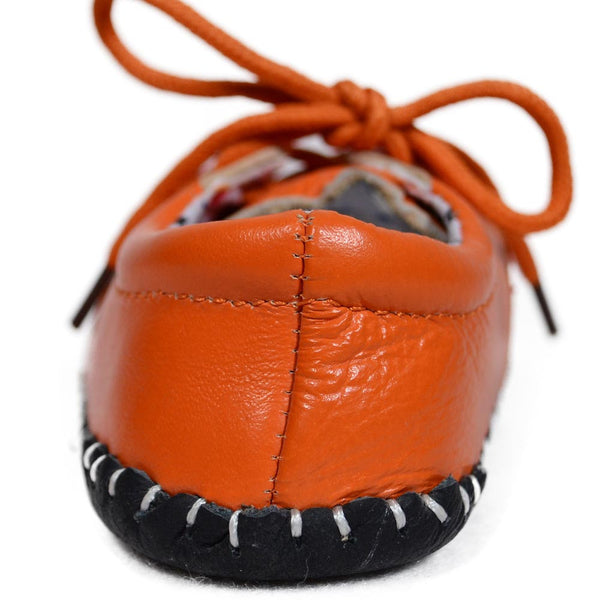Orange Bubbles Soft Leather Training Shoes heel view at Twinkie