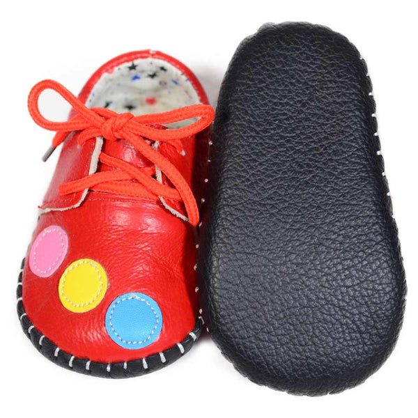 Red Bubbles Soft Leather Training Shoes soft sole at Twinkie