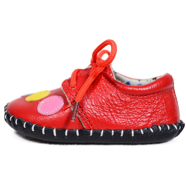Red Bubbles Soft Leather Training Shoes side view at Twinkie