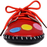 Red Bubbles Soft Leather Training Shoes toe view at Twinkie