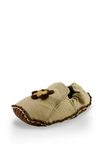 Tan and Brown Flower Baby Canvas Shoes at Twinkie