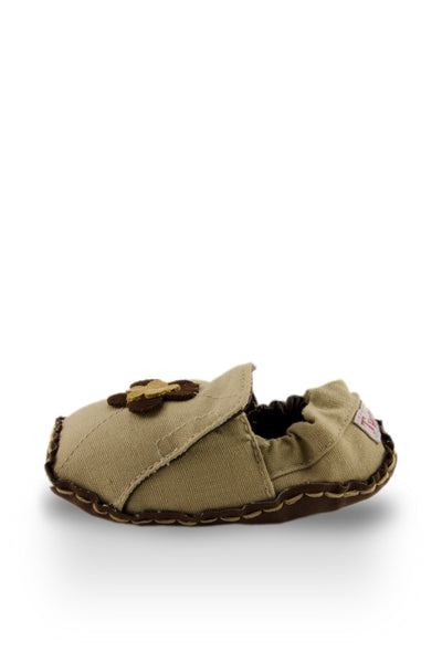 Tan and Brown Flower Baby Canvas Shoes side view at Twinkie