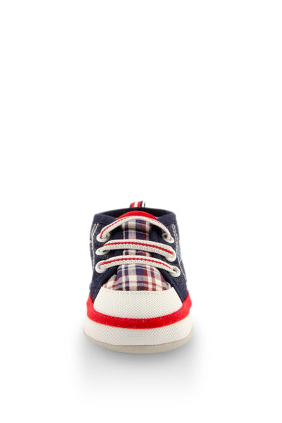 Red Baby Checkers Mini Training Shoes toe view at Twinkie