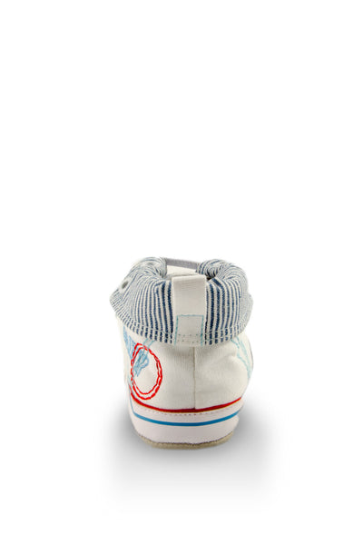 White High Cuff Denim Baby Shoes heel view at Twinkie