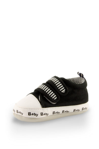 Black on Black Classic Stripe Baby Training Shoes at Twinkie