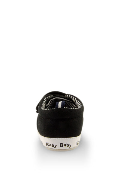 Black on Black Classic Stripe Baby Training Shoes heel view at Twinkie