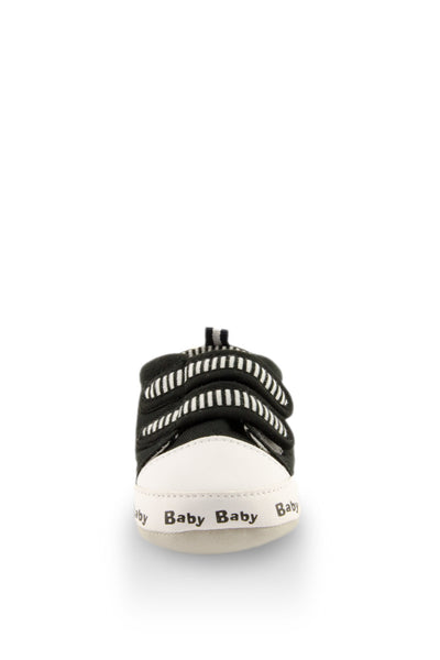 Black on Black Classic Stripe Baby Training Shoes toe view at Twinkie
