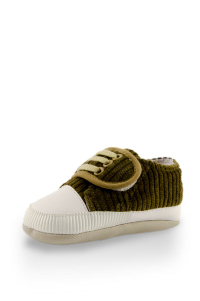 Olive Basic Striped Slip On Training Shoes at Twinkie
