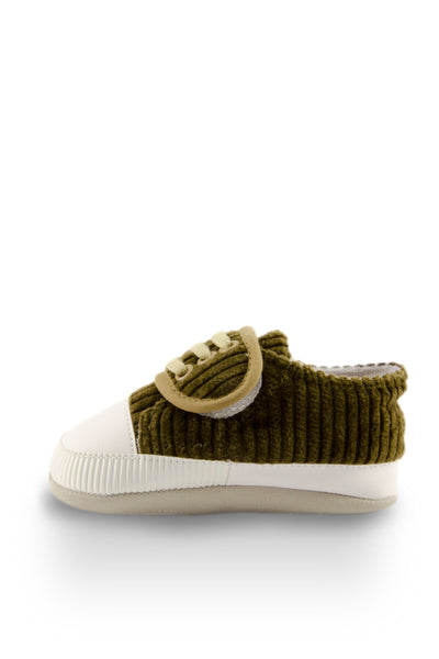 Olive Basic Striped Slip On Training Shoes side view at Twinkie
