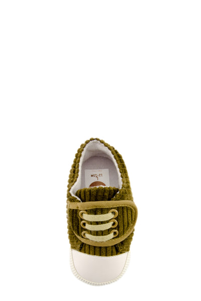 Olive Basic Striped Slip On Training Shoes top view at Twinkie