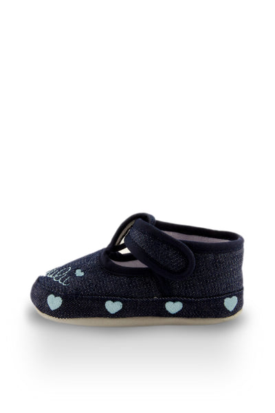 Blue Little Sweetheart Mini Training Shoes side view with hearts at Twinkie