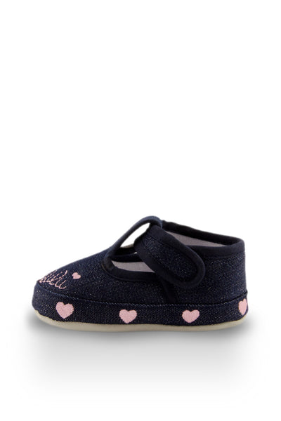 Pink Little Sweetheart Mini Training Shoes side view with hearts at Twinkie