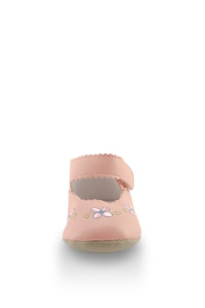 Pink Flower Embroidery Mini Training Shoes toe view at Twinkie