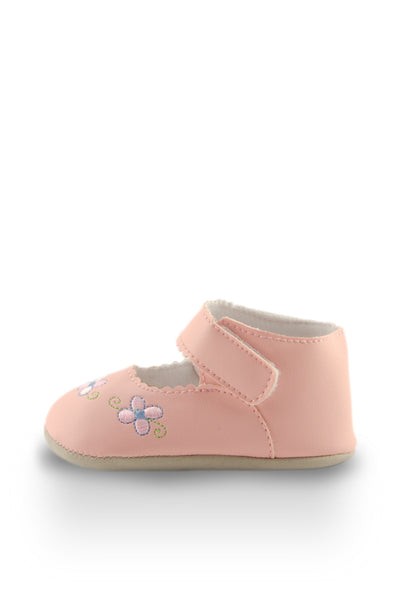 Pink Flower Embroidery Mini Training Shoes side view at Twinkie