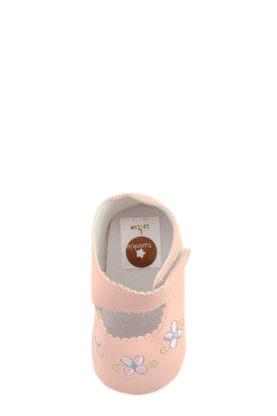 Pink Flower Embroidery Mini Training Shoes top view at Twinkie