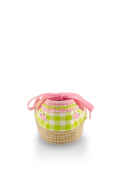 Pink on Green Checker with Ribbon Training Shoes heel view at Twinkie