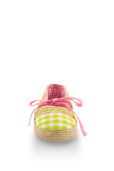 Pink on Green Checker with Ribbon Training Shoes toe view at Twinkie