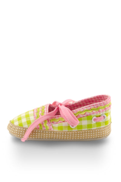 Pink on Green Checker with Ribbon Training Shoes side view at Twinkie