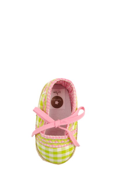 Pink on Green Checker with Ribbon Training Shoes top view at Twinkie