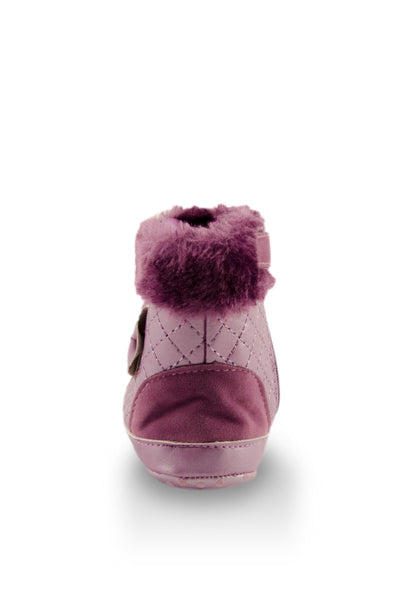 Fashionable Purple Faux Fur High Cuff Boot heel view at Twinkie