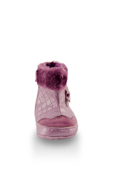 Fashionable Purple Faux Fur High Cuff Boot toe view at Twinkie