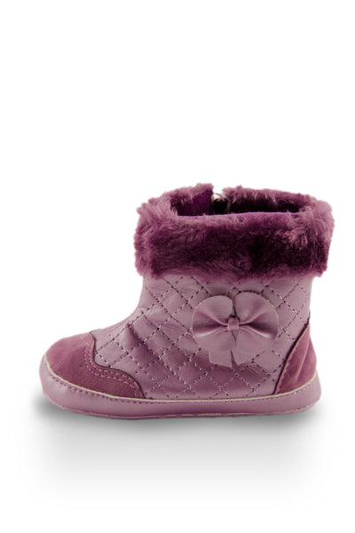 Fashionable Purple Faux Fur High Cuff Boot side view flower detail at Twinkie