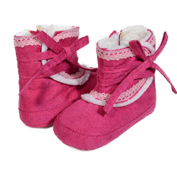 Pink High Cuff Lace Mini Training Shoes