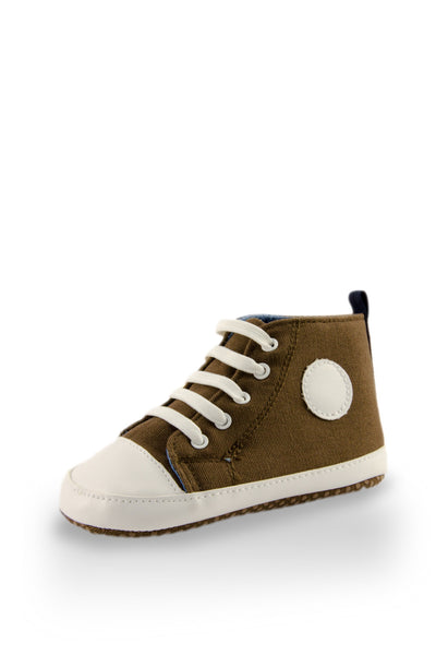 White and Brown High Top Sports Mini Training Shoes at Twinkie