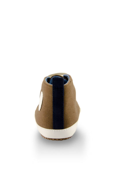 White and Brown High Top Sports Mini Training Shoes heel view at Twinkie