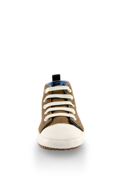 White and Brown High Top Sports Mini Training Shoes toe view at Twinkie