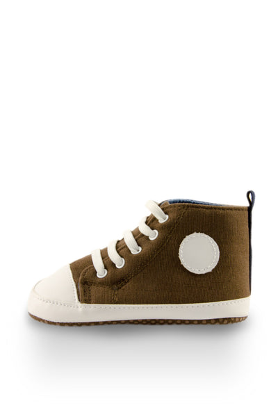 White and Brown High Top Sports Mini Training Shoes side view at Twinkie