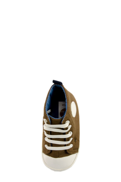 White and Brown High Top Sports Mini Training Shoes top view at Twinkie