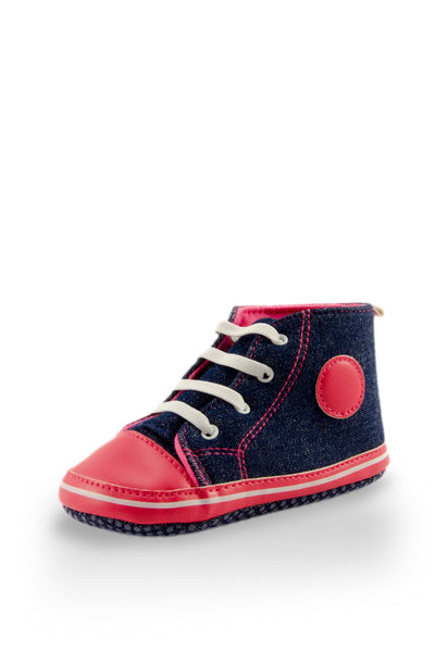 Pink and Navy High Top Sports Mini Training Shoes at Twinkie
