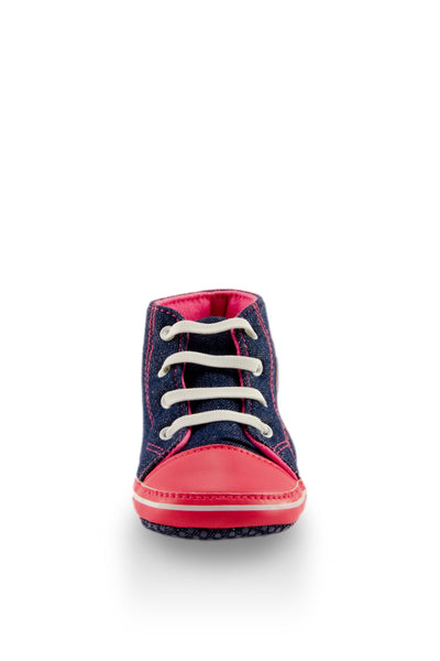 Pink and Navy High Top Sports Mini Training Shoes toe view at Twinkie