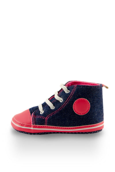 Pink and Navy High Top Sports Mini Training Shoes side view at Twinkie