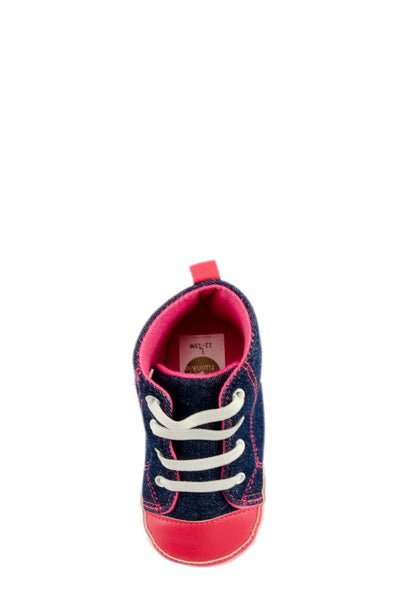 Pink and Navy High Top Sports Mini Training Shoes top view at Twinkie