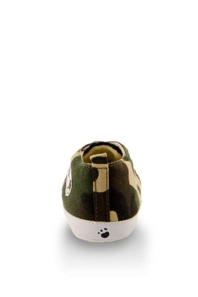 Camouflage Canvas Mini Training Shoes heel view at Twinkie