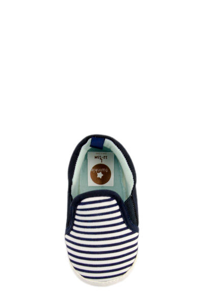 Navy Blue Baby Boy Striped Slip On Training Shoe