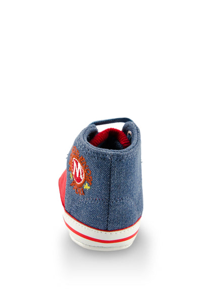 Red and Blue High Cuff Red Sport Line Mini Training Shoe heel view at Twinkie