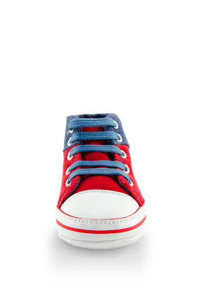 Red and Blue High Cuff Red Sport Line Mini Training Shoe toe view at Twinkie