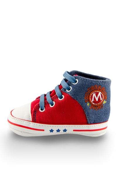 Red and Blue High Cuff Red Sport Line Mini Training Shoe side view at Twinkie