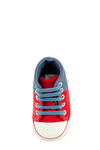 Red and Blue High Cuff Red Sport Line Mini Training Shoe top view at Twinkie