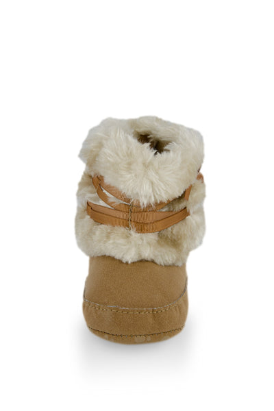 Beige High Cuff Furry Training Boot with Butterfly-Knot