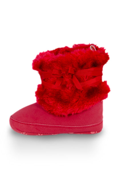 Red High Cuff Furry Training Boot with Butterfly-Knot