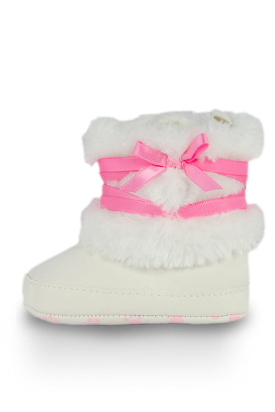 White High Cuff Furry Training Boot with Butterfly-Knot